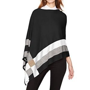 NWT Calvin Klein Plaid Asymmetrical Poncho
